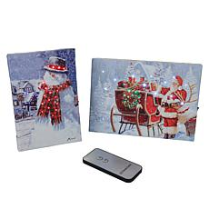 """As Is"" Winter Lane 2-piece Merry Christmas Mini Canvas Set"