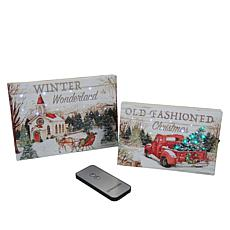 """As Is"" Winter Lane 2-piece Winter Wonderland Mini Canvas Set"
