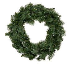 """""""As Is"""" Winter Lane 24"""" Indoor/Outdoor Wreath with Remote and 30 LE..."""