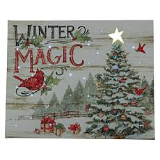 """As Is"" Winter Lane 8"" x 10"" Fiber-Optic Winter's Magic Canvas"