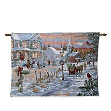 """As Is"" Winter Lane Christmas Time Fiber-Optic Christmas Tapestry"