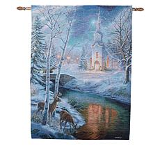 """As Is"" Winter Lane Holy Night Fiber-Optic Christmas Tapestry"
