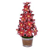 """As Is"" Winter Lane Lighted Potted Metal Poinsettia"