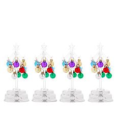 """As Is"" Winter Lane Set of 4 LED Glass Trees with Ornaments"
