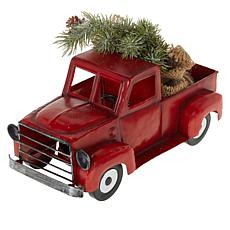 """As Is"" Winter Lane Vintage Pick-Up Truck with Tree, Lights and Timer"