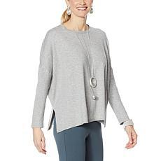"""""""As Is"""" WynneLayers Boxy Soft Knit Poncho Sweater"""