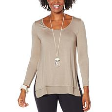 """As Is"" WynneLayers Long-Sleeve Knit Top with Chiffon Hem"
