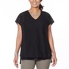 """As Is"" WynneLayers Mixed Media V-Neck Boxy Top"