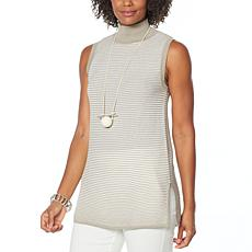 """As Is"" WynneLayers Ribbed Knit Mock-Neck Top"