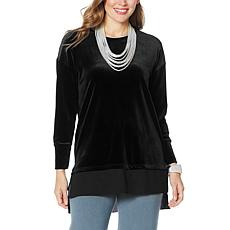 """As Is"" WynneLayers Stretch Velvet Tunic Top"