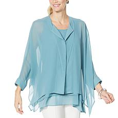 """As Is"" WynneLayers Unstructured Chiffon Shirt"