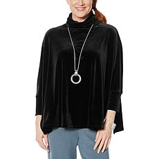 """""""As Is"""" WynneLayers Unstructured Stretch Velvet Turtleneck Top"""