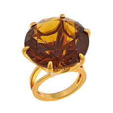 Asa Jewelry Faceted Round Brown Stone Cocktail Ring