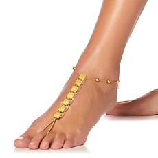 Asa Jewelry Goldtone Engraved Station Anklet Foot Jewelry 2pc Set