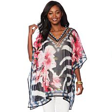 Asa Kaftans Mixed Print Sheer Short V-Neck Caftan