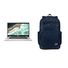 """ASUS 15.6"""" Chromebook w/Case Logic Query Backpack (Dress Blue Floral)"""