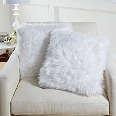"august & leo 2-pk Luxe Long Hair Faux Fur 20"" x 20"" Decorative Pillows"