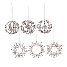 august & leo 6-pack Handmade Rhinestone Ornaments