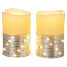 august & leo Set of 2 Fairy Light Pillar Candles