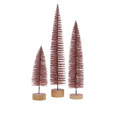 august & leo Set of 3 Glitter Bottle Brush Trees