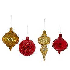august & leo Set of 4 Oversized LED Ornaments with Timer