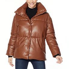 Avec Les Filles Faux Leather Puffer Jacket