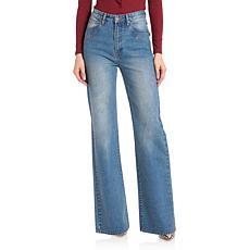 Avec Les Filles High-Waisted Wide Leg Jeans - Sedona Blue