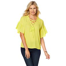 B Collection by Bobeau Flutter-Sleeve Lace-Up Blouse - Plus