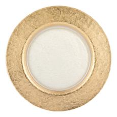 "Badash Authentic Gold Leaf Round 13"" Glass Charger Plate"