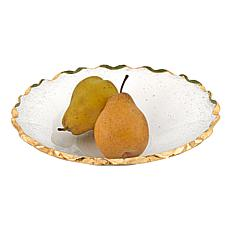 "Badash Gold Leaf Chiseled Edge 11"" Glass Salad or Fruit Bowl"
