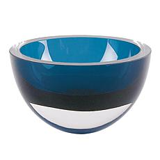 "Badash Penelope Peacock Blue Mouth-Blown Lead-Free Crystal 6"" Bowl"