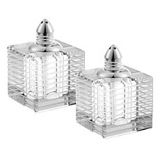 Badash Pinstripes Platinum Lead-Free Crystal Salt & Pepper Shakers