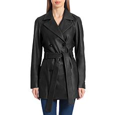 Badgley Mischka Double-Breasted Belted Lamb Leather Trenchcoat