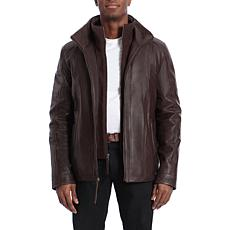 Bagatelle Heritage Men's Lamb Leather Jacket with Knit Insert - Brown