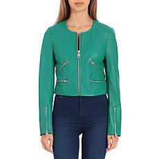 Bagatelle NYC Cropped Lamb Leather Moto Jacket - Kelly Green