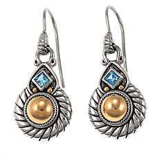 Bali Designs 0.24ctw Swiss Blue Topaz Cable-Twist 2-Tone Earrings