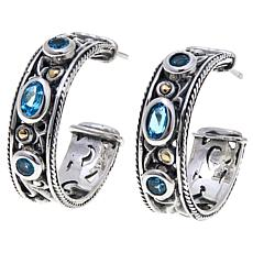 Bali Designs 1.12ctw Swiss Blue Topaz Hoop Earrings