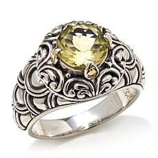 Bali Designs 1.6ctw Lemon Quartz 2-Tone Scallop Ring