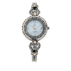 Bali Designs 18K Gold Accent Mother-of-Pearl Scrollwork Bracelet Watch