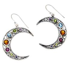Bali Designs 2-Tone Multigem Crescent Moon Drop Earrings