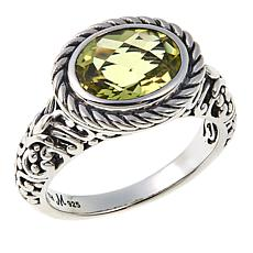 Bali Designs 2.32ct Oval Lemon Quartz Scrollwork Ring