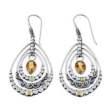 Bali Designs 2.6ctw Citrine 2-Tone Chandelier Earrings