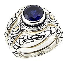 Bali Designs 2ctw Created Blue Sapphire 3-piece Ring Set