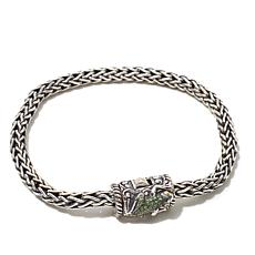 "Bali Designs .31ctw Gemstone Braided ""Frog"" Bracelet"