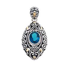 Bali Designs 3.24ct London Blue Topaz 2-Tone Pendant