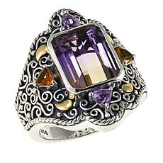 Bali Designs  4.04ctw Ametrine and Gem Scrollwork Ring