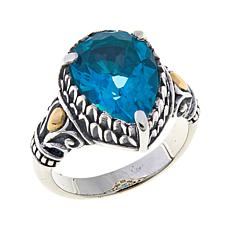 Bali Designs 4ct Blue Paraiba-Color Quartz Pear Ring