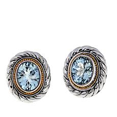 Bali Designs 4ctw Aquamarine 2-Tone Stud Earrings