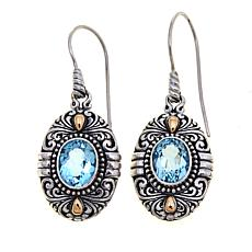 Bali Designs 5.2ctw Oval Sky Blue Topaz Drop Earrings