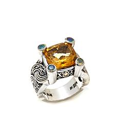 Bali Designs 5.6ctw Citrine and African Opal Ring